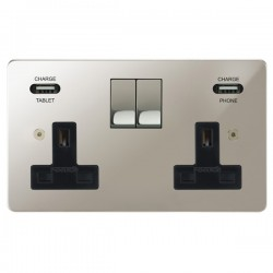 Focus SB Horizon 2 Gang 13A Switched USB Wall Socket in Polished Nickel with Black Insert