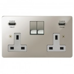 Focus SB Horizon 2 Gang 13A Switched USB Wall Socket in Polished Nickel with White Insert