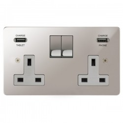Focus SB Horizon 2 Gang 13A Switched USB Wall Socket in Polished Stainless with White Insert
