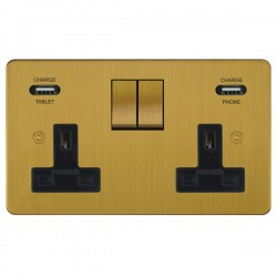 Focus SB Horizon 2 Gang 13A Switched USB Wall Socket in Satin Brass with Black Insert