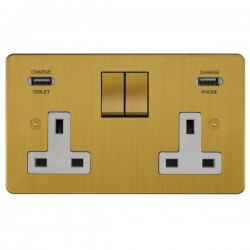 Focus SB Horizon 2 Gang 13A Switched USB Wall Socket in Satin Brass with White Insert