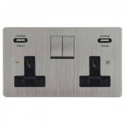 Focus SB Horizon 2 Gang 13A Switched USB Wall Socket in Satin Chrome with Black Insert