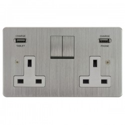 Focus SB Horizon 2 Gang 13A Switched USB Wall Socket in Satin Chrome with White Insert