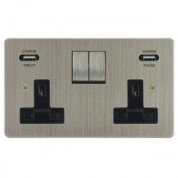 Focus SB Horizon 2 Gang 13A Switched USB Wall Socket in Satin Nickel with Black Insert