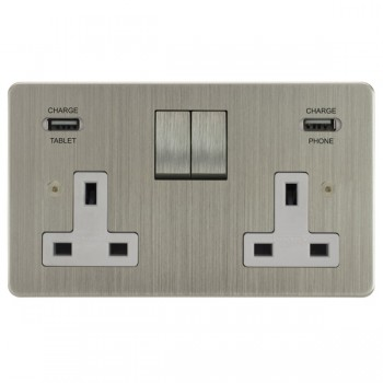 Focus SB Horizon 2 Gang 13A Switched USB Wall Socket in Satin Nickel with White Insert