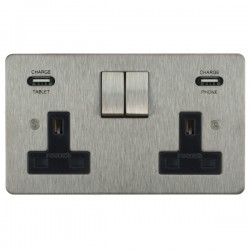 Focus SB Horizon 2 Gang 13A Switched USB Wall Socket in Satin Stainless with Black Insert