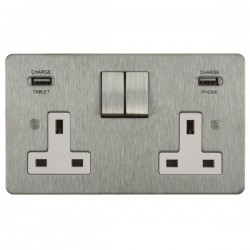 Focus SB Horizon 2 Gang 13A Switched USB Wall Socket in Satin Stainless with White Insert