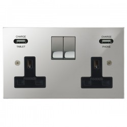 Focus SB Horizon Square Corners 2 Gang 13A Switched USB Wall Socket in Polished Chrome with Black Insert