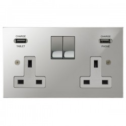 Focus SB Horizon Square Corners 2 Gang 13A Switched USB Wall Socket in Polished Chrome with White Insert
