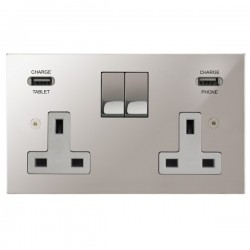 Focus SB Horizon Square Corners 2 Gang 13A Switched USB Wall Socket in Polished Stainless with White Insert