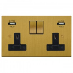 Focus SB Horizon Square Corners 2 Gang 13A Switched USB Wall Socket in Satin Brass with Black Insert