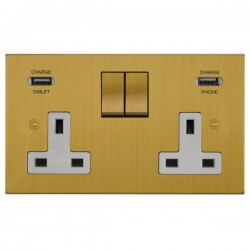 Focus SB Horizon Square Corners 2 Gang 13A Switched USB Wall Socket in Satin Brass with White Insert