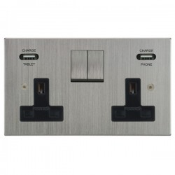 Focus SB Horizon Square Corners 2 Gang 13A Switched USB Wall Socket in Satin Chrome with Black Insert