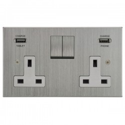 Focus SB Horizon Square Corners 2 Gang 13A Switched USB Wall Socket in Satin Chrome with White Insert