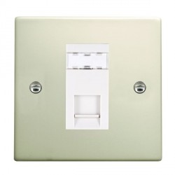 Hamilton Hartland Pearl Oyster 1 Gang RJ12 Outlet Unshielded with White Insert