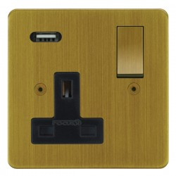 Focus SB Horizon 1 Gang 13A Switched USB Wall Socket in Antique Brass with Black Insert