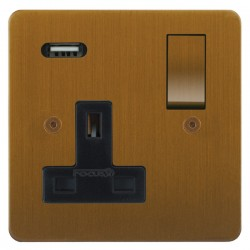 Focus SB Horizon 1 Gang 13A Switched USB Wall Socket in Bronze Antique with Black Insert