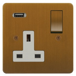 Focus SB Horizon 1 Gang 13A Switched USB Wall Socket in Bronze Antique with White Insert