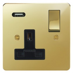 Focus SB Horizon 1 Gang 13A Switched USB Wall Socket in Polished Brass with Black Insert