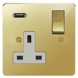 Focus SB Horizon 1 Gang 13A Switched USB Wall Socket in Polished Brass with White Insert