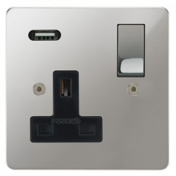 Focus SB Horizon 1 Gang 13A Switched USB Wall Socket in Polished Chrome with Black Insert