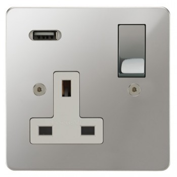 Focus SB Horizon 1 Gang 13A Switched USB Wall Socket in Polished Chrome with White Insert