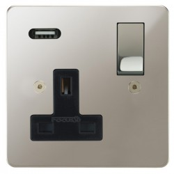 Focus SB Horizon 1 Gang 13A Switched USB Wall Socket in Polished Nickel with Black Insert
