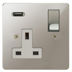 Focus SB Horizon 1 Gang 13A Switched USB Wall Socket in Polished Nickel with White Insert