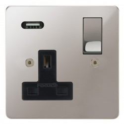 Focus SB Horizon 1 Gang 13A Switched USB Wall Socket in Polished Stainless with Black Insert
