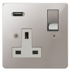 Focus SB Horizon 1 Gang 13A Switched USB Wall Socket in Polished Stainless with White Insert