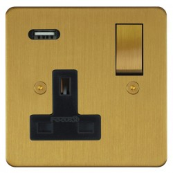 Focus SB Horizon 1 Gang 13A Switched USB Wall Socket in Satin Brass with Black Insert