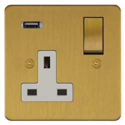 Focus SB Horizon 1 Gang 13A Switched USB Wall Socket in Satin Brass with White Insert