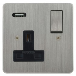 Focus SB Horizon 1 Gang 13A Switched USB Wall Socket in Satin Chrome with Black Insert