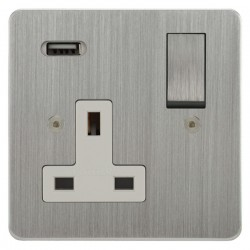 Focus SB Horizon 1 Gang 13A Switched USB Wall Socket in Satin Chrome with White Insert