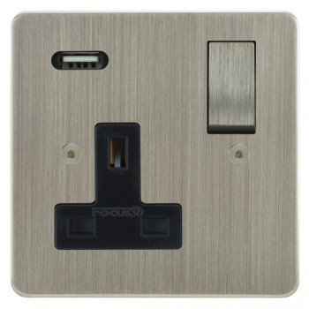 Focus SB Horizon 1 Gang 13A Switched USB Wall Socket in Satin Nickel with Black Insert