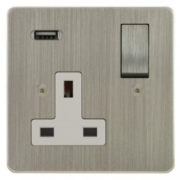 Focus SB Horizon 1 Gang 13A Switched USB Wall Socket in Satin Nickel with White Insert