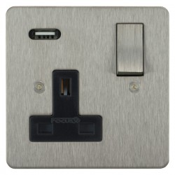 Focus SB Horizon 1 Gang 13A Switched USB Wall Socket in Satin Stainless with Black Insert
