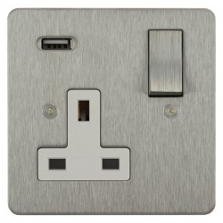 Focus SB Horizon 1 Gang 13A Switched USB Wall Socket in Satin Stainless with White Insert