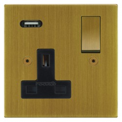 Focus SB Horizon Square Corners 1 Gang 13A Switched USB Wall Socket in Antique Brass with Black Insert