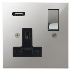 Focus SB Horizon Square Corners 1 Gang 13A Switched USB Wall Socket in Polished Chrome with Black Insert