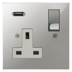 Focus SB Horizon Square Corners 1 Gang 13A Switched USB Wall Socket in Polished Chrome with White Insert