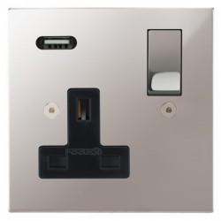 Focus SB Horizon Square Corners 1 Gang 13A Switched USB Wall Socket in Polished Stainless with Black Insert