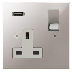 Focus SB Horizon Square Corners 1 Gang 13A Switched USB Wall Socket in Polished Stainless with White Insert