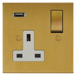 Focus SB Horizon Square Corners 1 Gang 13A Switched USB Wall Socket in Satin Brass with White Insert