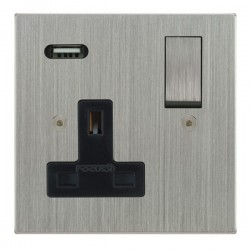 Focus SB Horizon Square Corners 1 Gang 13A Switched USB Wall Socket in Satin Chrome with Black Insert