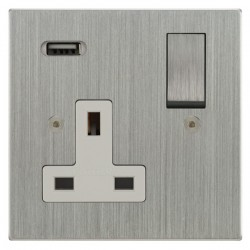 Focus SB Horizon Square Corners 1 Gang 13A Switched USB Wall Socket in Satin Chrome with White Insert