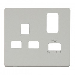 Click Definity Screwless Polar White 1 Gang USB Socket Cover Plate