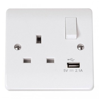Click Mode Single 13Amp White PVC Socket with USB Outlet