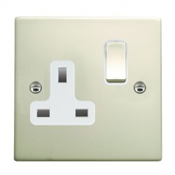 Hamilton Hartland Pearl Oyster 1 Gang 13A Switched Socket - Double Pole with White Insert
