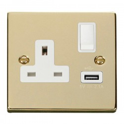 Click Deco Victorian Polished Brass 1 Gang 13A Single Pole Switched Socket with White Insert and USB Outlet